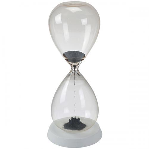 שעון חול מגנטי גדול עם בסיס עץ לבן