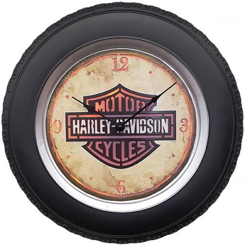 """שעון קיר HARLEY הארלי דוידסון עם תאורת לד ע""""י שלט רחוק בקוטר 41 ס""""מ"""