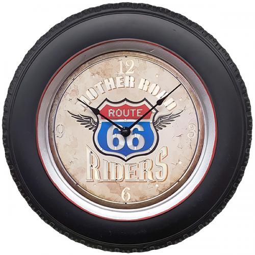 """שעון קיר ROUTH 66 RIDERS עם תאורת לד ע""""י שלט רחוק בקוטר 41 ס""""מ"""