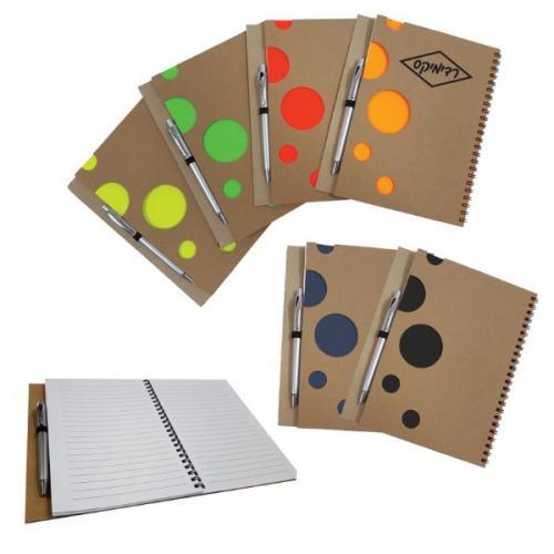 מחברת ממוחזרת עם עיגולים צבעוניים + עט כסופה