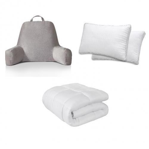 """סט למיטה שמיכה מפנקת כריות אורתופדיות וכרית תמיכה רב שימושית מבית ד""""ר גב"""