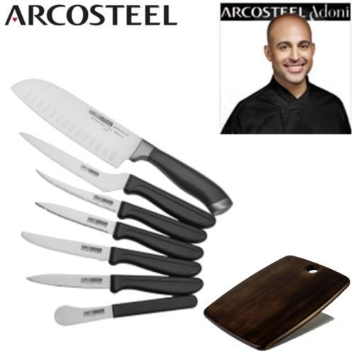 סט סכינים עשיר בתוספת קרש חיתוך איכותי מסדרת מאיר אדוני - ארקוסטיל