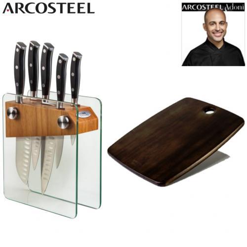 מעמד סכינים  מרהיב מזכוכית עם קרש חיתוך ARCOSTEEL