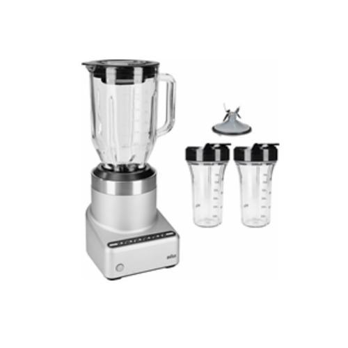 בלנדר מקצועי כוס מזכוכית. 2 כוסות עמידות לחום וקור עם מכסה לשתייה בטוחה בדרכים מבית BRAUN