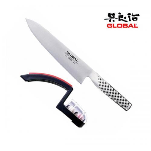 סט סכין G2 עם משחיז גלגלים אדום מבית GLOBAL