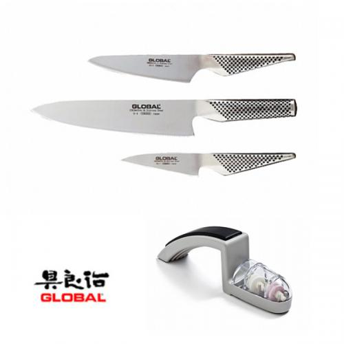 סט שלישיית סכינים ומשחיז מבית Global