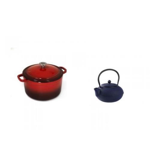 מארז קומקום יפני - 1.5 ליטר כחול,  וסיר אמייל עגול 6 ליטר אדום מבית GORU