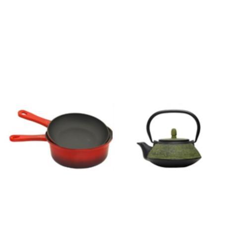 מארז קומקום טרקוטה 1 ליטר ירוק + סיר/מחבת