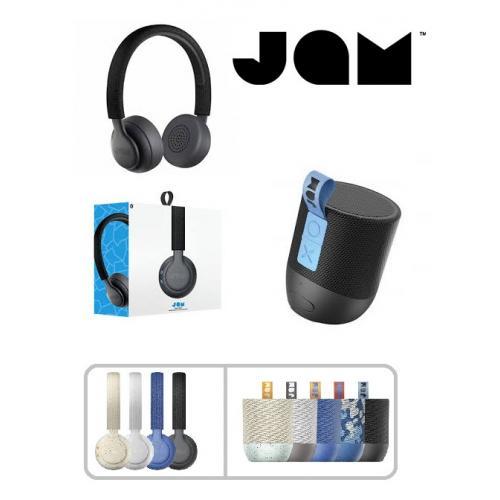סט מדליק של רמקול ואוזניות בלוטוס ממותג הסאונד הבינלאומי JAM