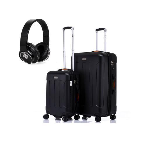 סט מזוודות קשיחות JEEP מסדרת מיאמי 24+20 אינץ' בשילוב אוזניות 2 ב-1 ההופכות לרמקול!