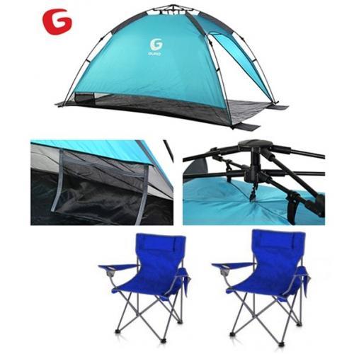 אוהל צל LAGUNA שנפתח תוך פחות מדקה + 2 כסאות
