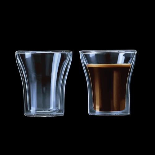 זוג כוסות זכוכית עם דופן כפולה בעיצוב מהודר קלאסי