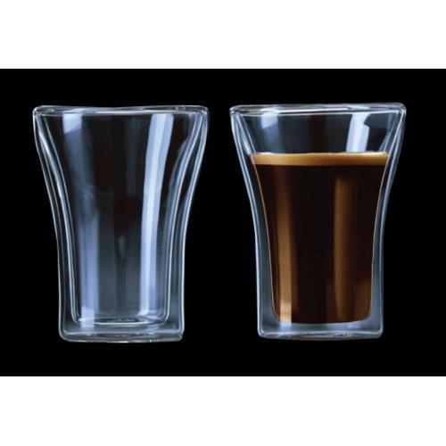 זוג כוסות זכוכית עם דופן כפולה בעיצוב מהודר מהמם
