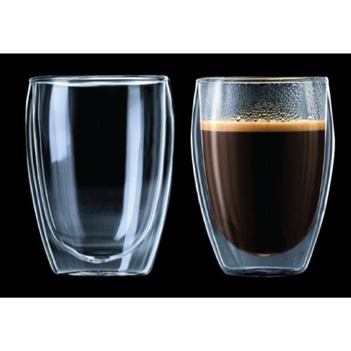 זוג כוסות זכוכית עם דופן כפולה בעיצוב איכותי
