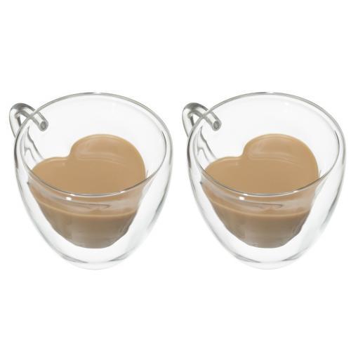 שותים באהבה -סט 2 ספלי זכוכית כפולה עם אפקט לב