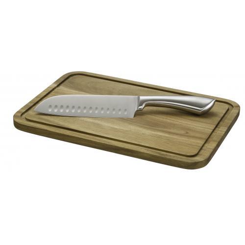 """קרש חיתוך איכותי עשוי במבוק + סכין סנטוקו """"7"""
