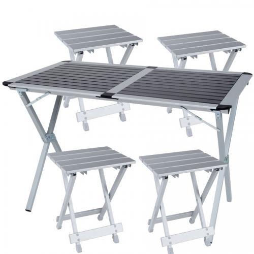 סט שולחן מתקפל ו4 כסאות מתקפלים מאלומיניום - פטנט חדש ומדהים לפיקניק
