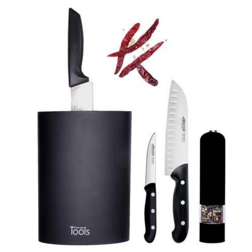 סט סכינים מזוודה שחור/לבן ARCOS