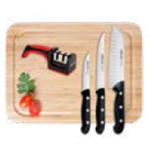 סט סכינים 5 חלקים כולל קרש ואבן משחזת ARCOS