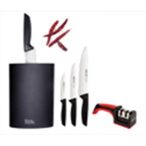 מארז בלוק אובלי מהודר 5 חלקים עם סכינים ומשחזת