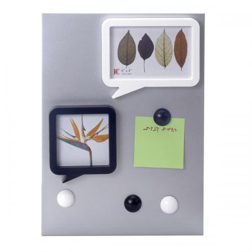 לוח ממו מגנטי עם שתי מסגרות לתמונות