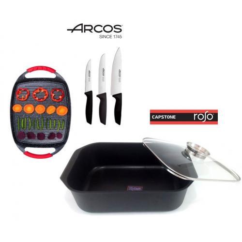 סט סכיני איכות מבית Arcos ופלנצה עם רוסטר איכותי קאפסטון רוסו
