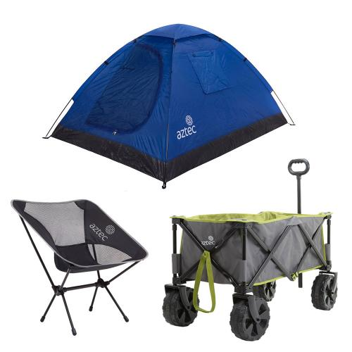 עגלת קמפינג Beach Cart בשילוב כיסא קמפינג ואוהל איגלו זוגי מבית Aztec