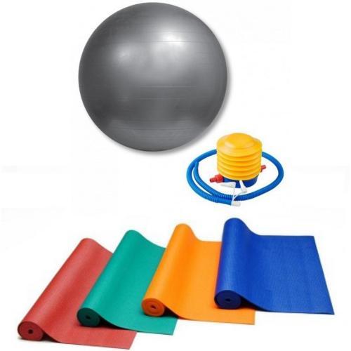 """סט כדור ענק 65 ס""""מ כולל משאבה ומזרון יוגה 3.5 מ""""מ  מבית ENERGYM"""