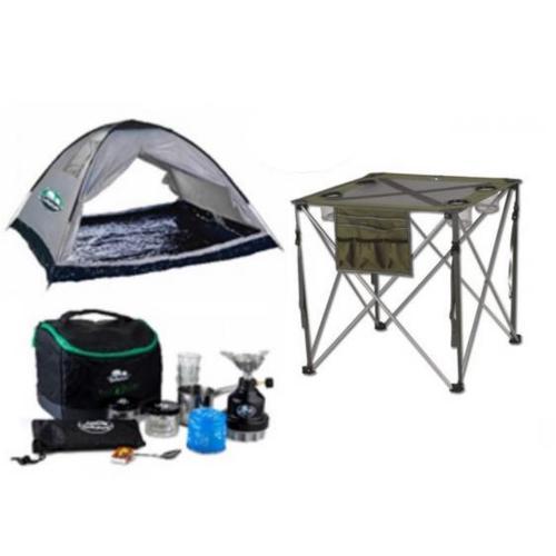 סט מושלם לטיול: אוהל ל-4 אנשים, שולחן קומפקטי מתקפל לשטח וערכת קפה מפנקת בתיק צד טורנדו של GO NATURE