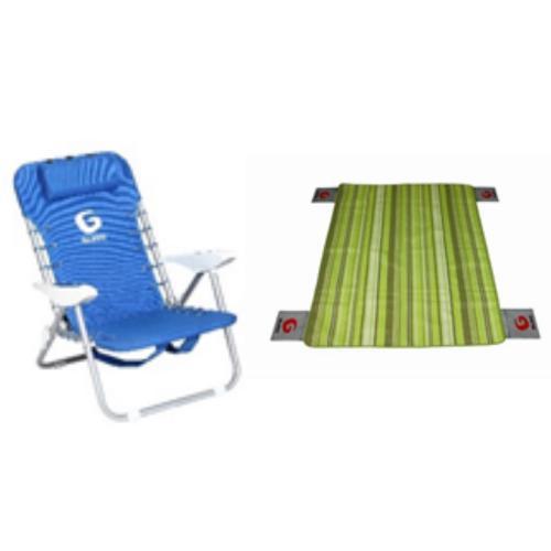 כיסא פלדה כחול + מחצלת זוגית של GURO