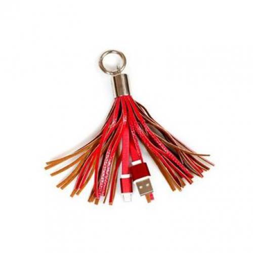 כבל טעינה דו צדדי מחזיק מפתחות שרוכים