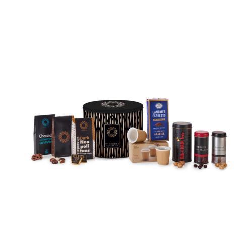 מארז אוריאן  XL extra large, הכוללות זוג כוסות אספרסו, קפה אספרסו ושוקולדים איכותיים