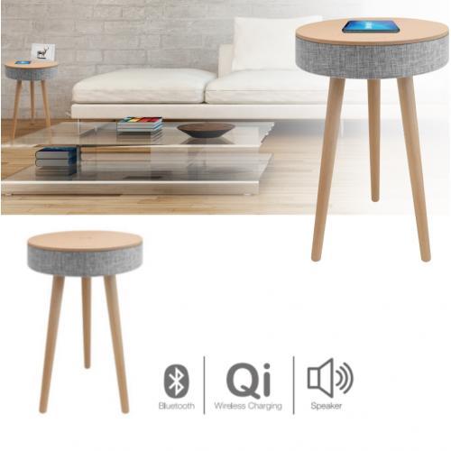 שולחן מעוצב עם רמקול בלוטוס ועמדת טעינה אלחוטית מבית pure acoustics