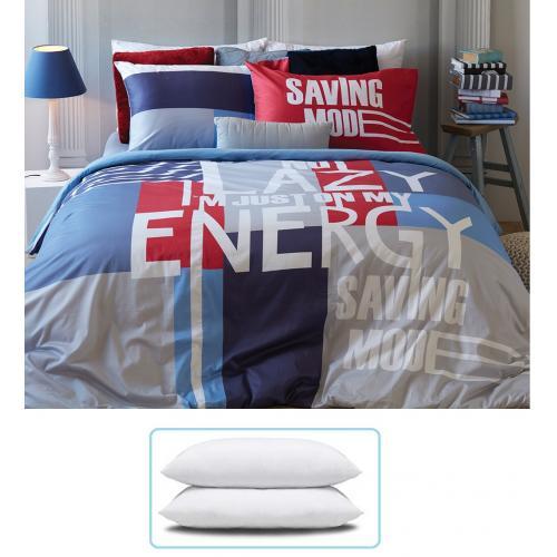 מארז מפנק של 2 סטים מצעים למיטה וחצי, 100% כותנה, וזוג כריות שינה HOMESTYLE.