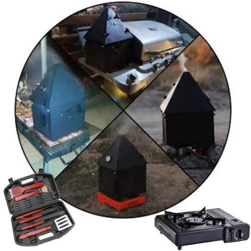 סט 3 מזוודות לבישול בשטח ובחצר - מעשנת בשר ודגים מתקפלת למזוודה, כירת גז במזוודה וכלי ברביקיו איכותיים במזוודה