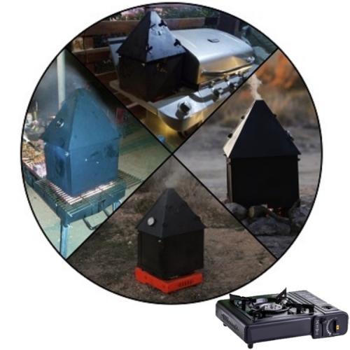 סט בישול בשטח ובחצר - מעשנת בשר ודגים מתקפלת למזוודה, כירת גז במזוודה וכלי ברביקיו איכותיים במזוודה